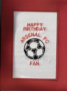 PERSONALISED EMBROIDERED ARSENAL FC CARD - FOOTBALL